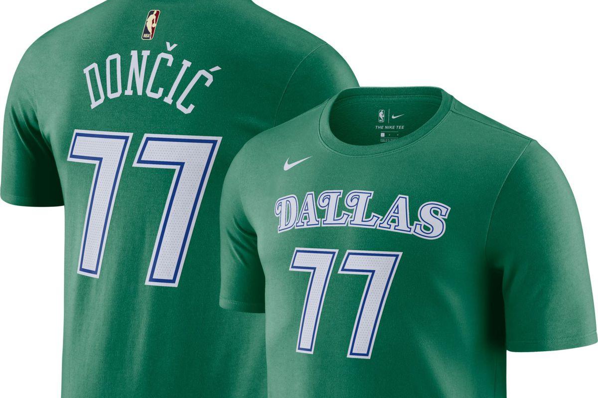 Luka Doncic No. 77 green t-shirt jersey.
