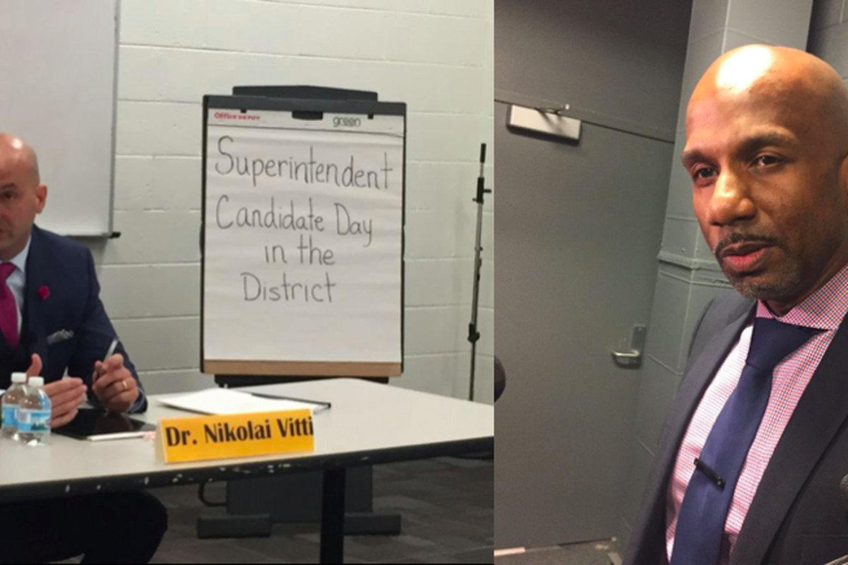 Detroit's school board is considering two superintendent candidates, Nikolai Vitti (left) and Derrick Coleman.