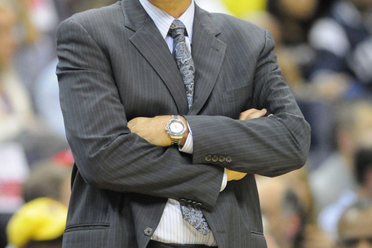 Apr 26, 2012; Washington, DC, USA; Washington Wizards head coach Randy Wittman reacts during the game against the Miami Heat at the Verizon Center. Mandatory Credit: Brad Mills-US PRESSWIRE