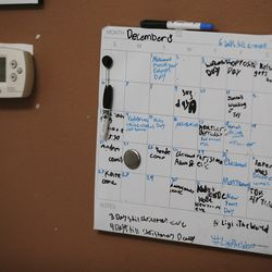Tom and Heather Wakefield's calendar of activities is pictured at their home in Kissimmee, Fla., on Monday Dec 21, 2020.