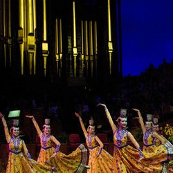 Dancers perform the four cup dance at the Salt Lake Interfaith Roundtable musical performance at the Salt Lake Tabernacle on Temple Square in Salt Lake City, Utah on Sunday, Feb., 21, 2010.