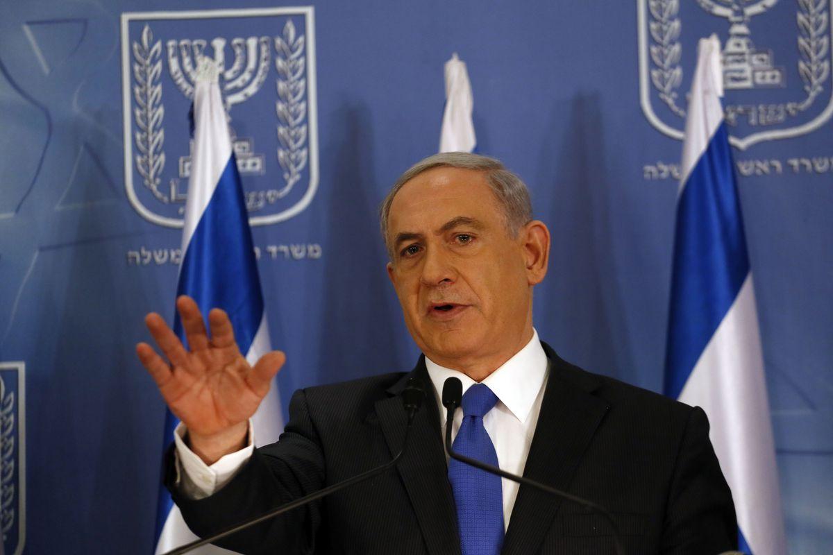 Israeli Prime Minister Netanyahu speaking at a Tel Aviv press conferece