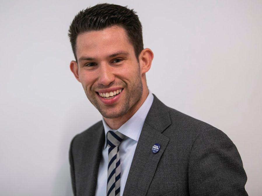 39th Ward aldermanic candidate Casey Smagala at the Sun-Times Dec. 19. | Rich Hein/Sun-Times