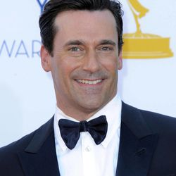 Actor Jon Hamm arrives at the 64th Primetime Emmy Awards at the Nokia Theatre on Sunday, Sept. 23, 2012, in Los Angeles.
