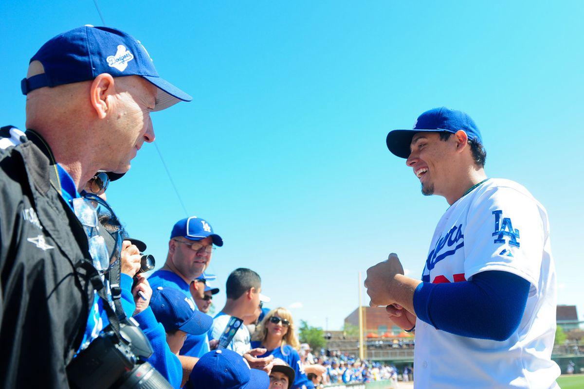 Luis Cruz is one of several Dodgers to take part in the Dodgers community caravan