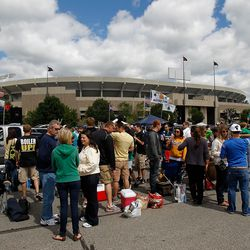 SOUTH BEND, IN - SEPTEMBER 04: Fans tailgate outside of Notre Dame Stadium before a game between the Notre Dame Fighting Irish and the Purdue Boilermakers at Notre Dame Stadium on September 4, 2010 in South Bend, Indiana.