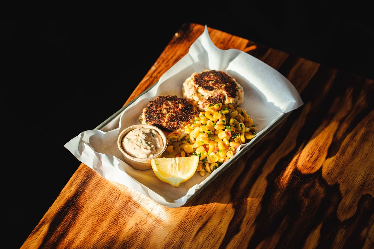 Crab cakes at Grand Duchess come with a helping of roasted Mexican street corn.