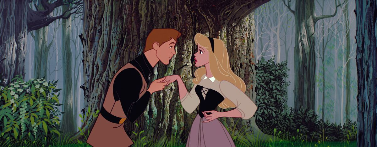 prince phillip and aurora meet in the forest, about to dance to once upon a dream