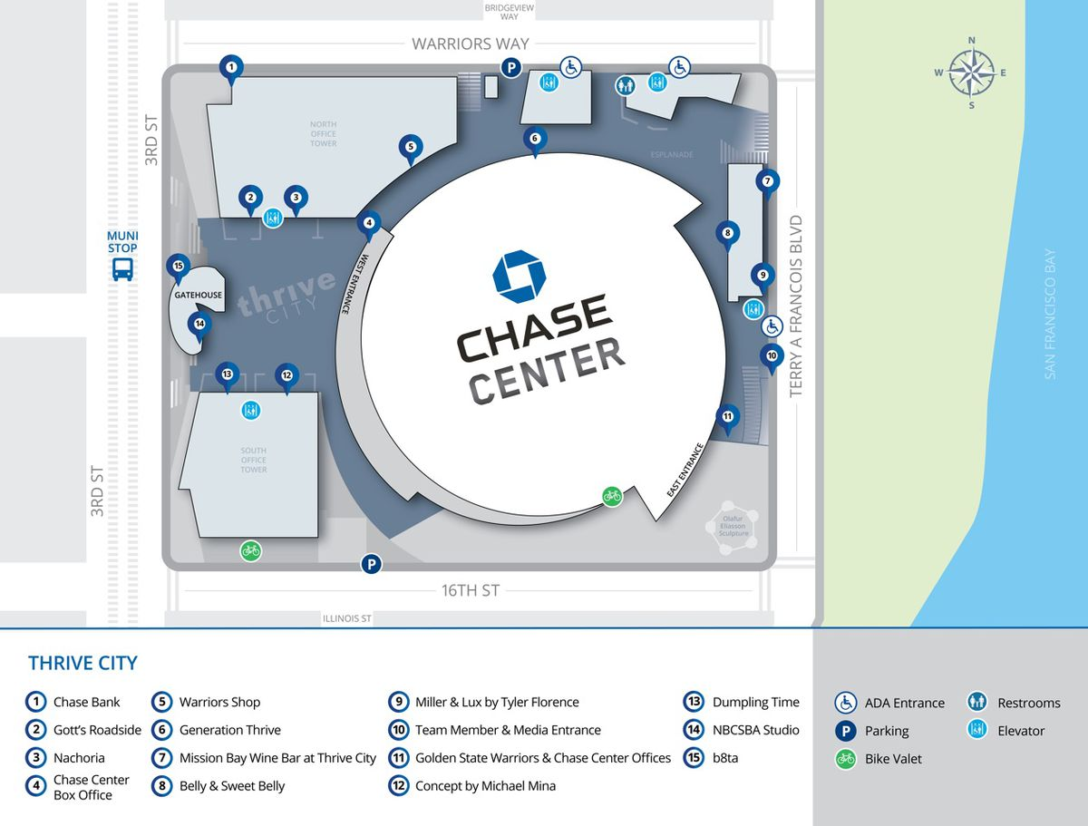 Chase Center SF Restaurants: What to Eat and Drink at the ... on petsmart map, becu map, first financial bank map, bank of america map, suntrust bank map, pnc bank map, chase online banking, td bank map, jack in the box map, fifth third bank map, citibank map, quiktrip map, first midwest bank map, flagstar map, panera bread map, macy's map, chase atm map, regions bank map, lowe's map, chase atm locations,
