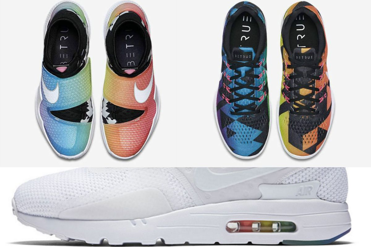 newest bb431 1a61a Nike releases 2016 BeTrue line this week featuring rainbows, triangles and  Air Max Zero
