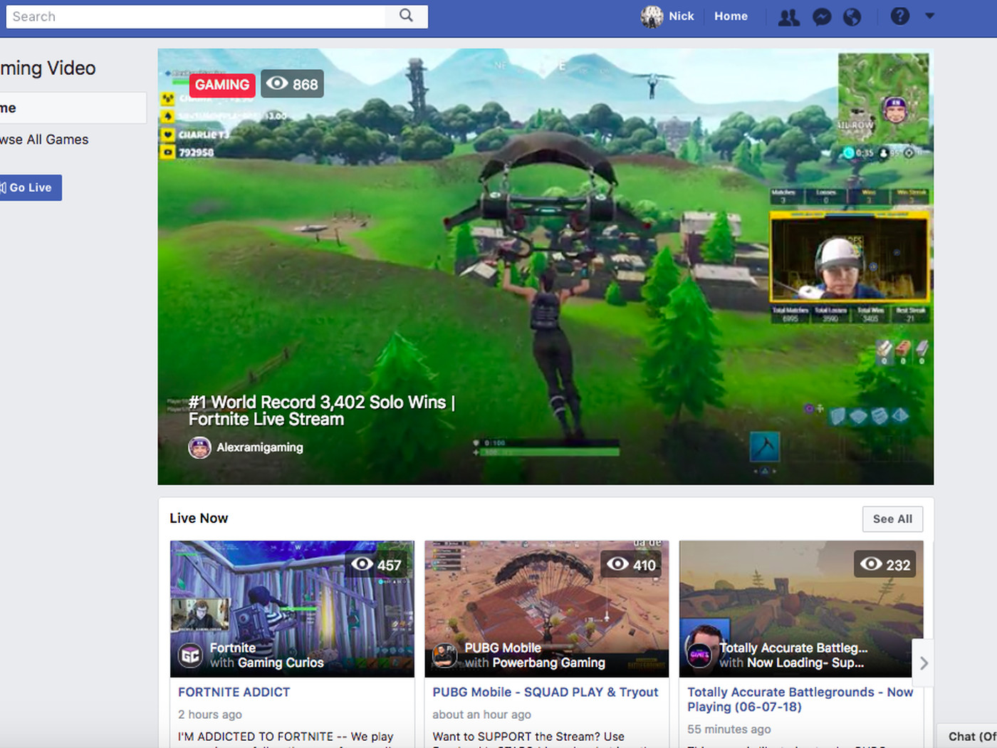 I'm Live Fortnite Fb Gg Is Facebook S Game Streaming Hub For Stealing Fortnite Streamers Away From Twitch The Verge