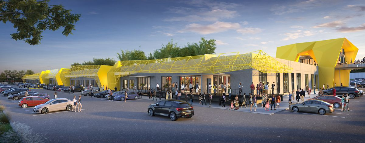 Another rendering shows people standing outside the complex in the parking lot.