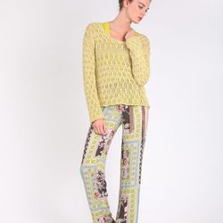 Chartreuse Open-Weave Sweater, $204