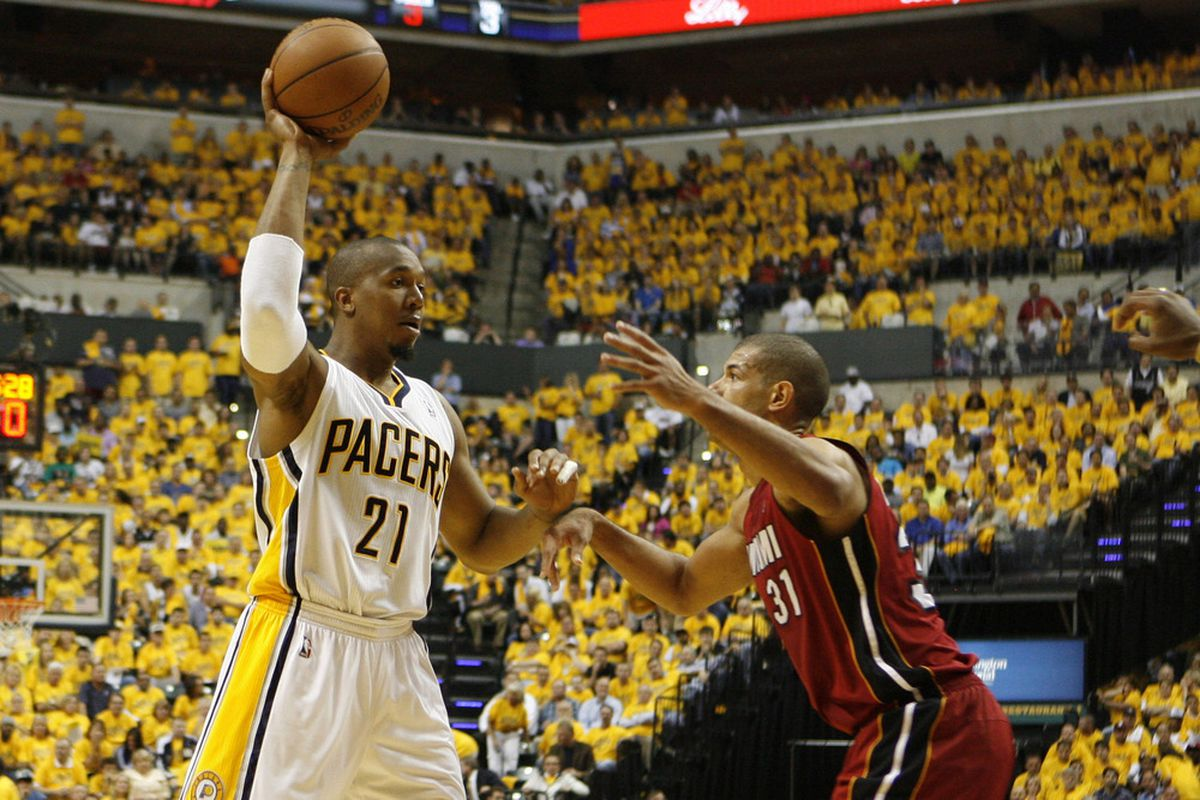 May 17, 2012; Indianapolis, IN, USA; Indiana Pacers forward David West (21) squares off against Miami Heat forward Shane Battier (31) at Bankers Life Fieldhouse.  Mandatory Credit: Brian Spurlock-US PRESSWIRE
