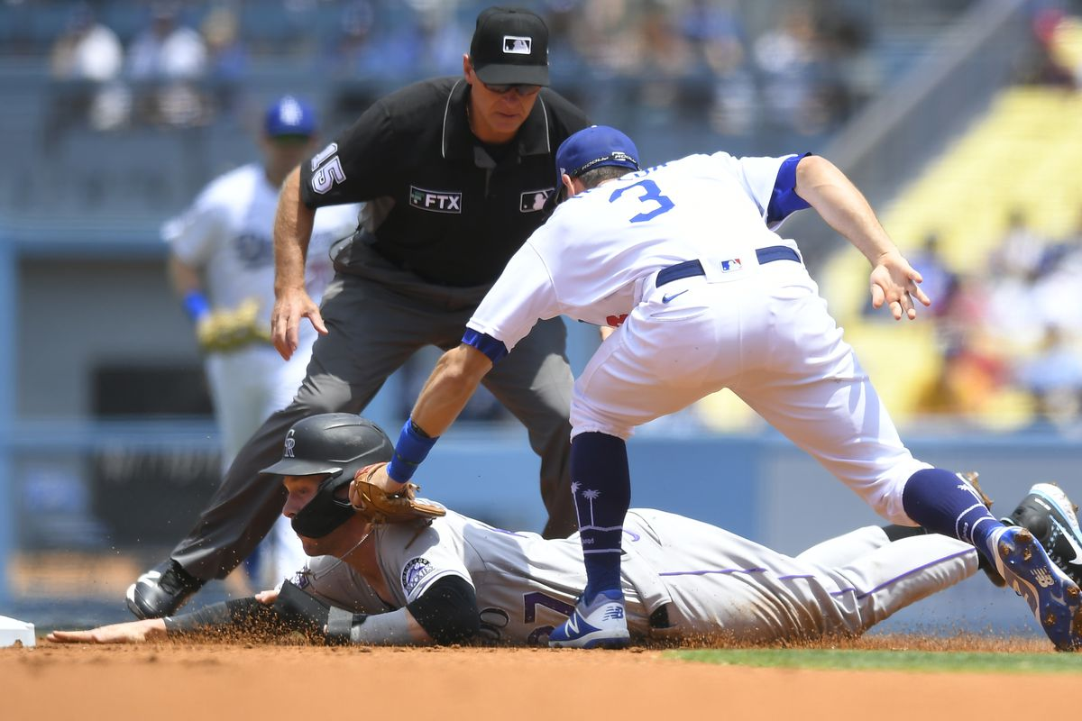 Trevor Story tagged out by Chris Taylor on July 25, 2021.