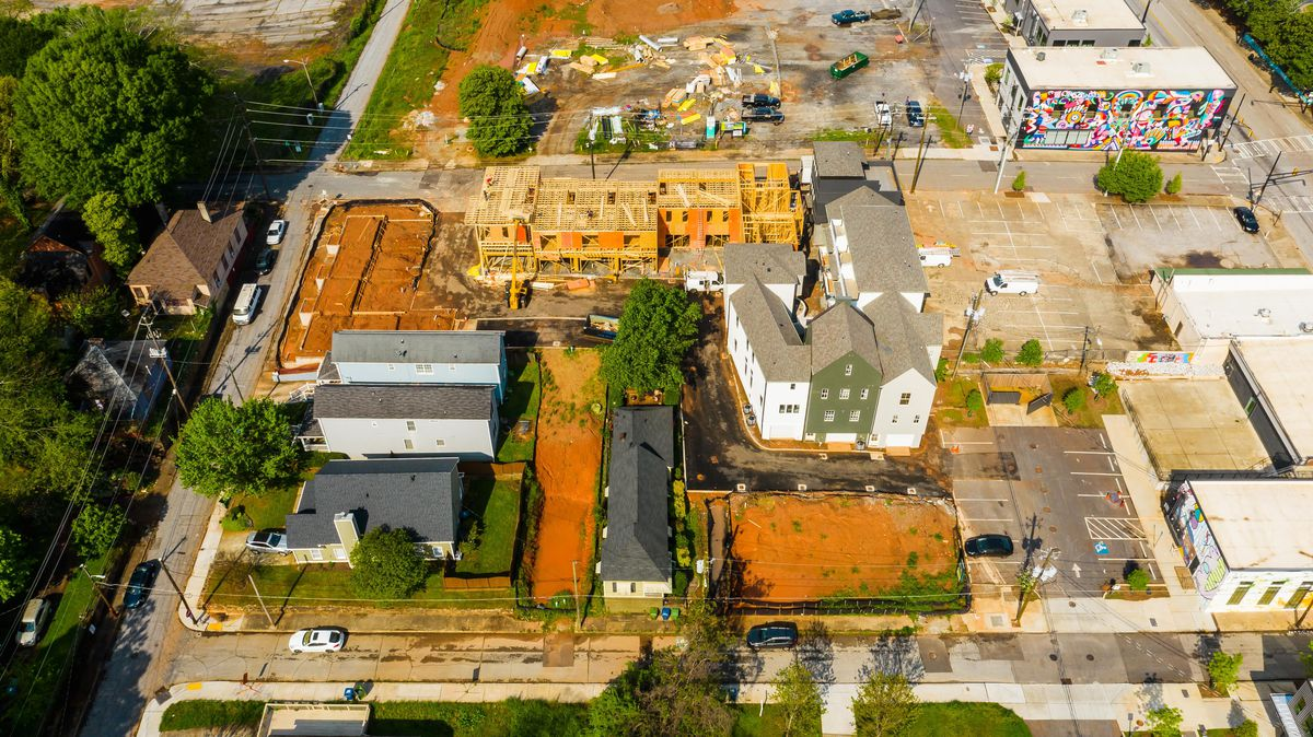An overhead view of a residential construction site.