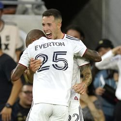 Real Salt Lake defender Aaron Herrera, right, celebrates his goal with midfielder Everton Luiz during the first half of a Major League Soccer match against Los Angeles FC Saturday, July 17, 2021, in Los Angeles.