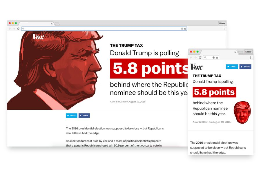 Screenshots from wide and small breakpoints of Vox's trump tax, showing the final design.