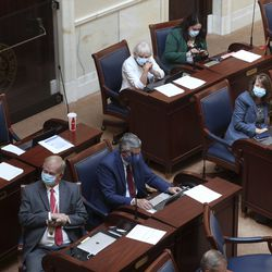 Senators attend a special session of the Legislature in the Senate chambers to deal with myriad COVID-19 budget changes at the Capitol in Salt Lake City on Thursday, June 18, 2020.