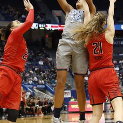 The UConn Huskies take on the Maryland Terrapins in a women's college basketball game at the XL Center in Hartford, CT on November 19, 2017.