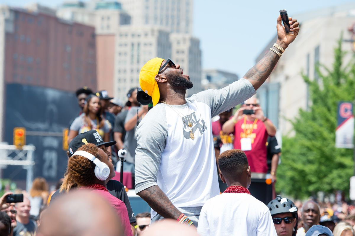 LeBron celebrates during the NBA Championship parade in Cleveland.