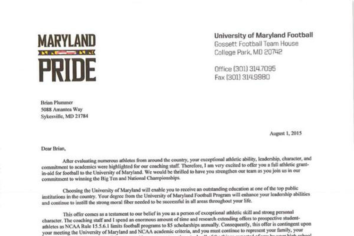 Heres what an official maryland football scholarship offer looks as of august 1 d1 coaches can officially send scholarship letters to class of 2016 recruits and maryland commit brian plummer tweeted a picture of the altavistaventures