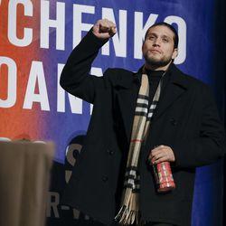 Brian Ortega salutes the crowd at UFC 231 presser.