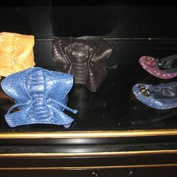 Carlos Falchi cross body python baby satchels, $395<br />Tory Burch glitter ballerina, $235