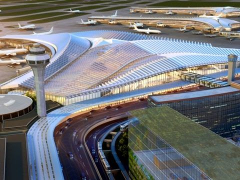 """Proposed design for new """"global terminal"""" at O'Hare International Airport"""
