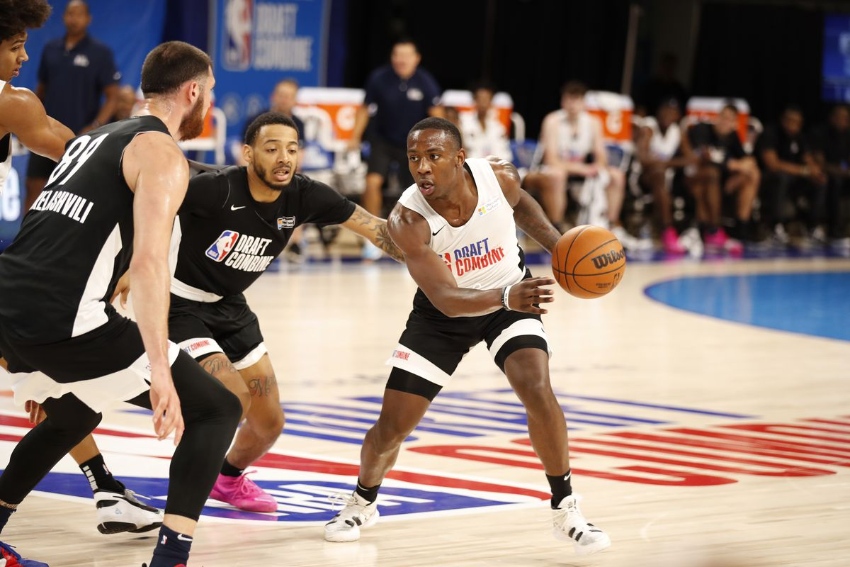 NBA Draft Prospect, McKinley Wright IV drives to the basket during the 2021 NBA Draft Combine on June 24, 2021 at the Wintrust Arena in Chicago, Illinois.