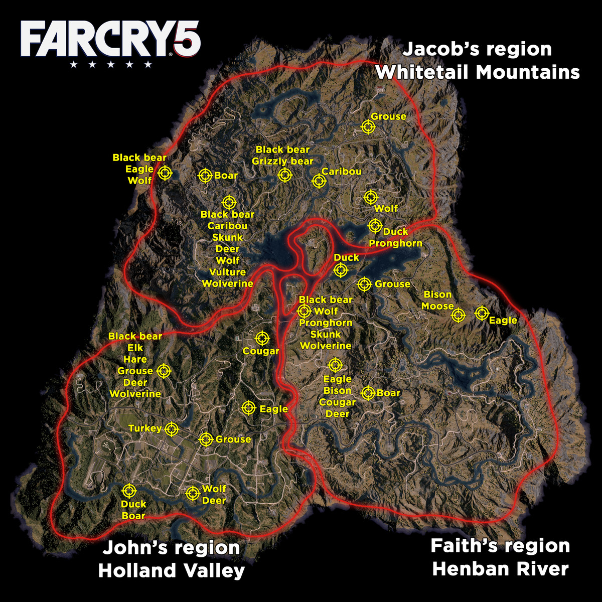 Far cry 5 best hunting locations polygon far cry 5 hunting map and animal locations gumiabroncs Gallery