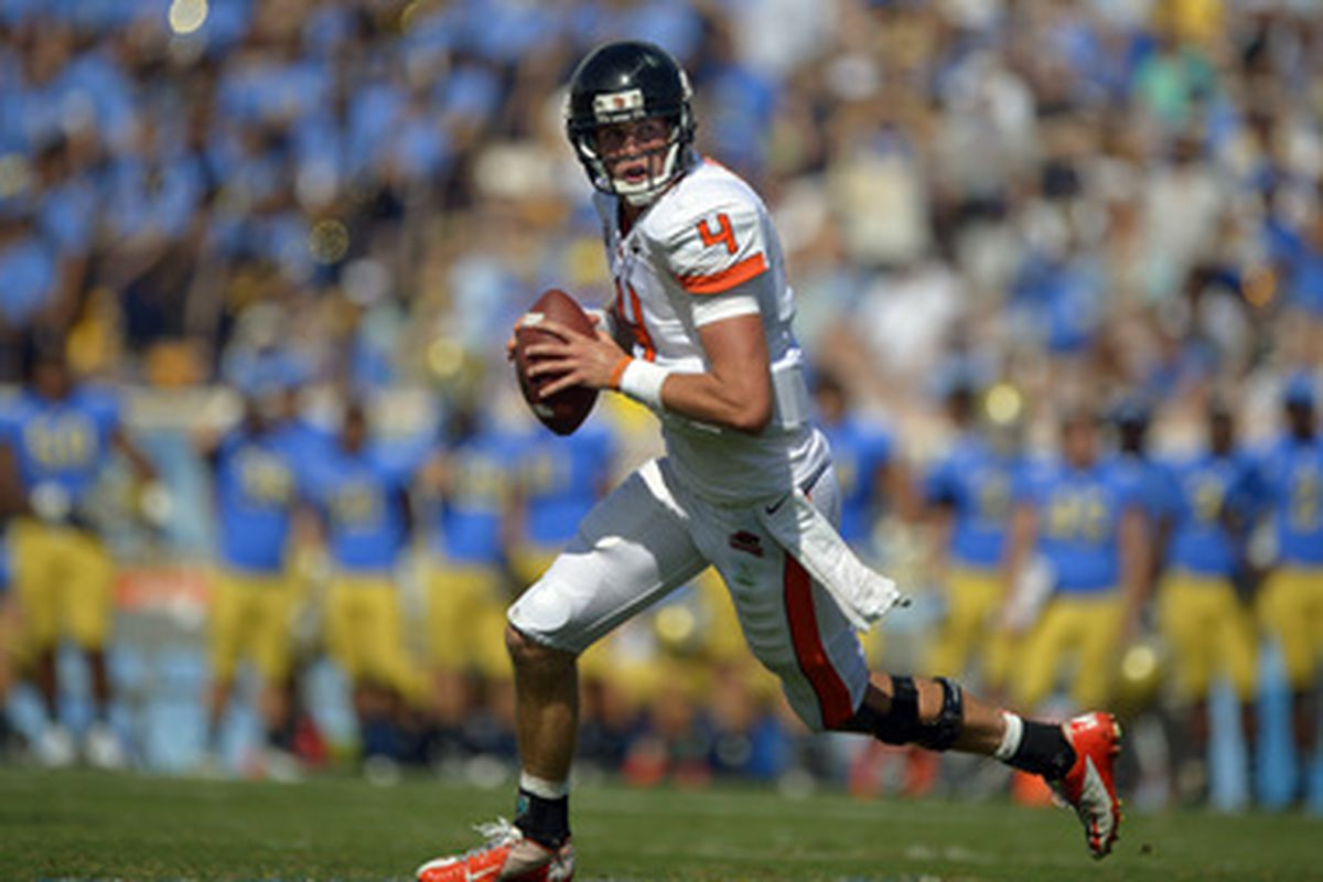 Oregon St. quarterback Sean Mannion was looking for his favored receivers Markus Wheaton and Brandin Cooks all day against UCLA. Because he frequently found them, the Beavers found a top 20 ranking as well. <em>(AP Photo)</em>