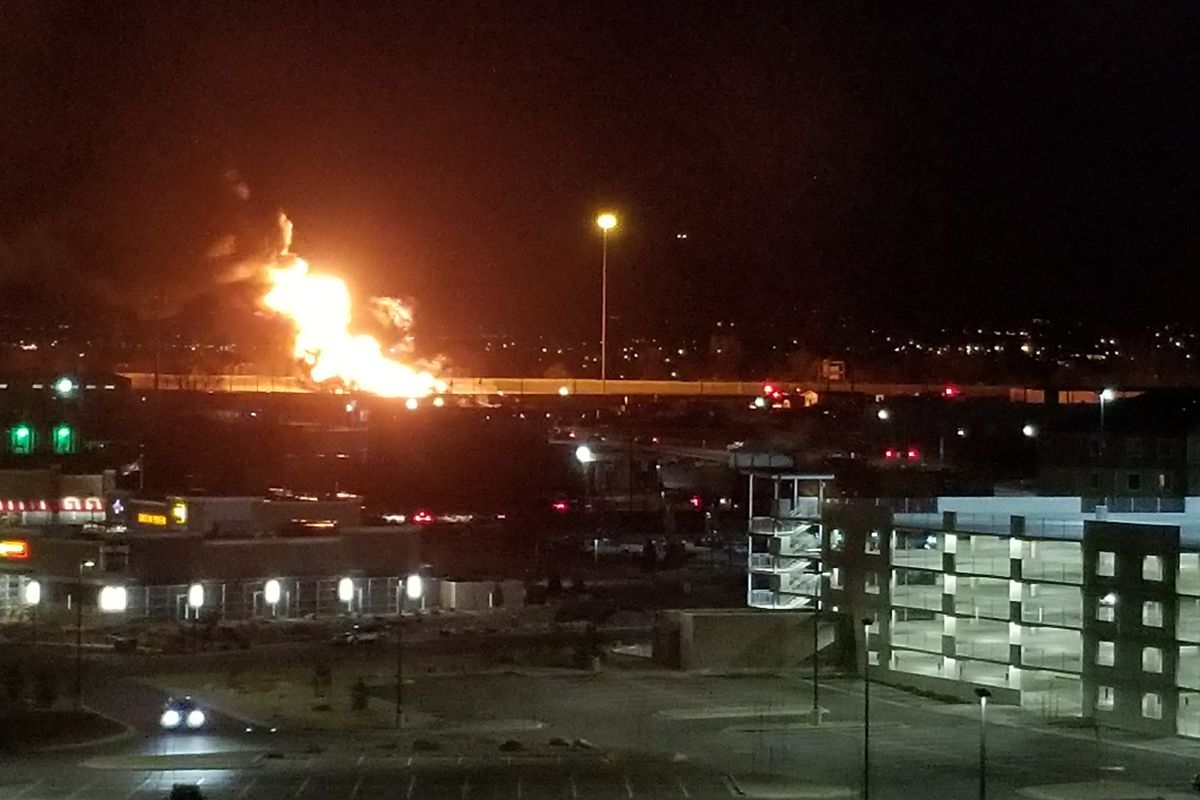 A semi with two tankers caught fire Thursday evening, shutting I-15 at 7200 South in both directions.