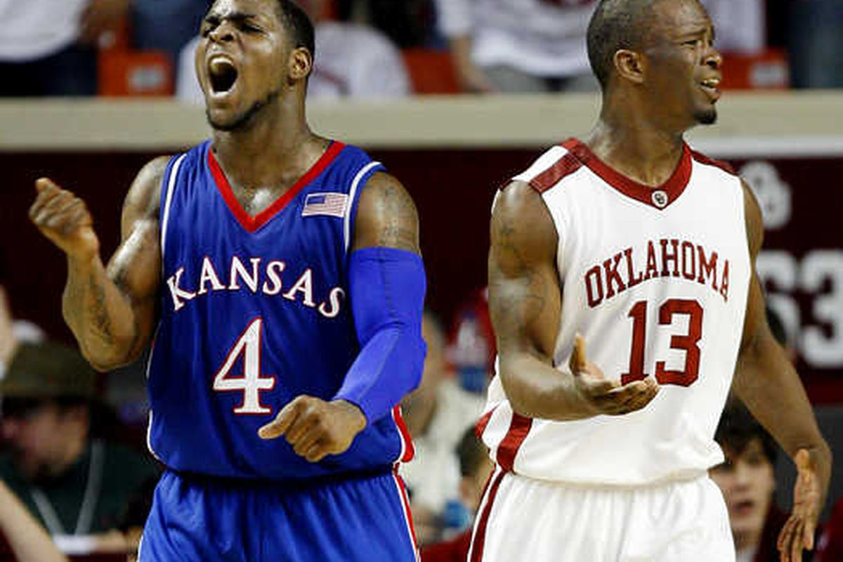 """""""<em>What am I supposed to do?</em>"""" Who will ever forget that epic performance Sherron put one-on-one, shot-for-shot with Willie Warren? Singlehandedly willed that team to victory. <strong>Jayhawk 4 Life.</strong>"""