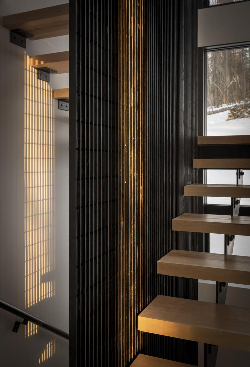 Closeup view of floating staircase.
