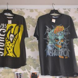 Rare 90s concert tees border the walls and start in the low $100s