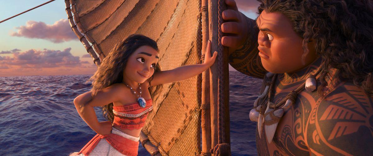 Moana and Maui on Moana's boat