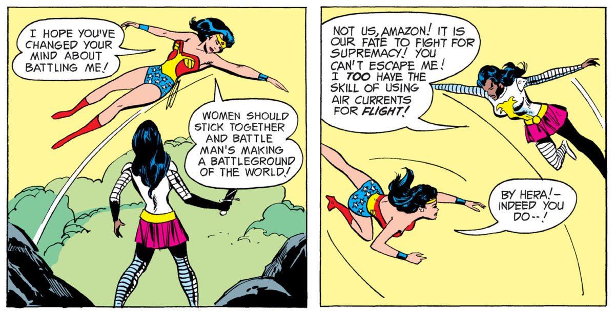Wonder Woman and Nubia swoop through the air around each other in Wonder Woman #206, DC Comics (1973).