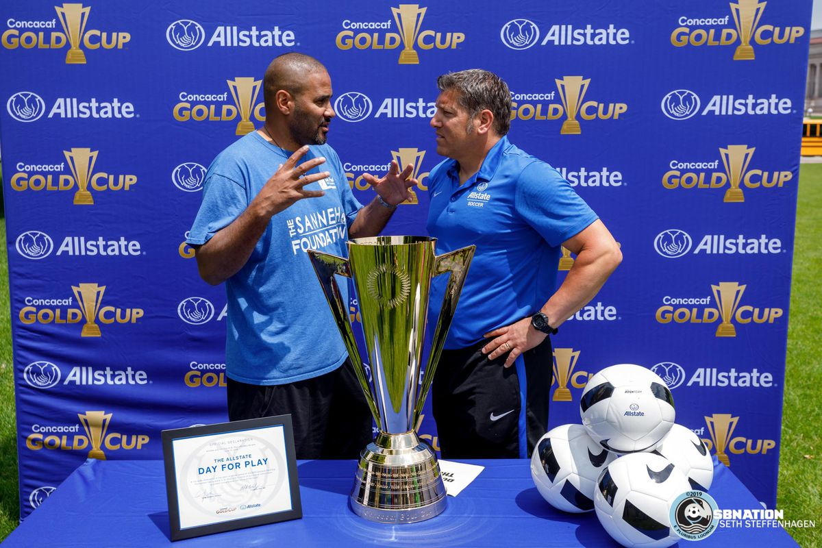 June 17, 2019 - Saint Paul, Minnesota, United States - Former US Men's National Team players Tony Sanneh and Tony Meola have a chat at the Allstate Day For Play event.
