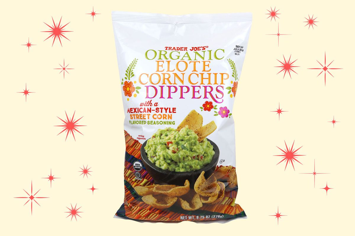 A white chip bag with a photo of the corn chip dippers dipping into a dish of guacamole sits on a beige background with red star bursts.