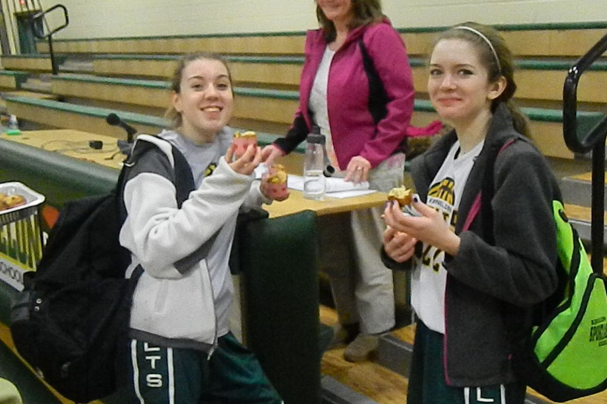 Kinnelon girls enjoy home made cupcakes following the win over Montvale.