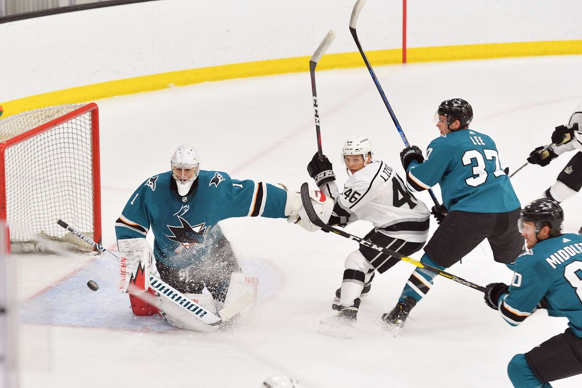 Sharks goalie Zachary Emond keeps the Kings Blake Lizotte away from the net during their game in the 2019 Anaheim Rookie Face Off at the Great Park Ice & Fivepoint Arena in Irvine, CA, on Tuesday, Sep 10, 2019.