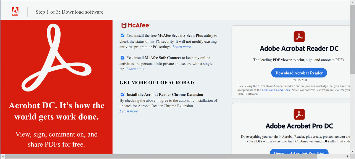 It's a good idea to uncheck Adobe's promotional offers before downloading Acrobat Reader