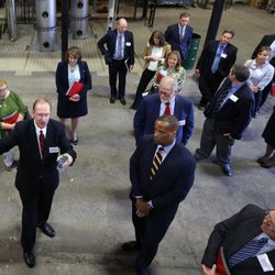 Eric Eddings, professor of chemical engineering at the University of Utah and research project leader, leads a tour of the U.'s Industrial Combustion and Gasification Facility in Salt Lake City on Wednesday, Oct. 26, 2016.