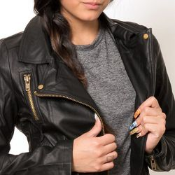 """<a href=""""http://edithhart.com/shop/clothing/EDT01097-honey-punch-moto-jacket-hp#.VBG1Ly5dVOI"""">Moto Jacket HP</a>, $75 at Edith Hart <br><b>Leather jacket.</b> A leather (or pleather) jacket is a staple piece of outwear. It keeps you warm and adds a littl"""