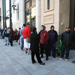 People line up in Salt Lake City waiting for the opening of the new City Creek Center.