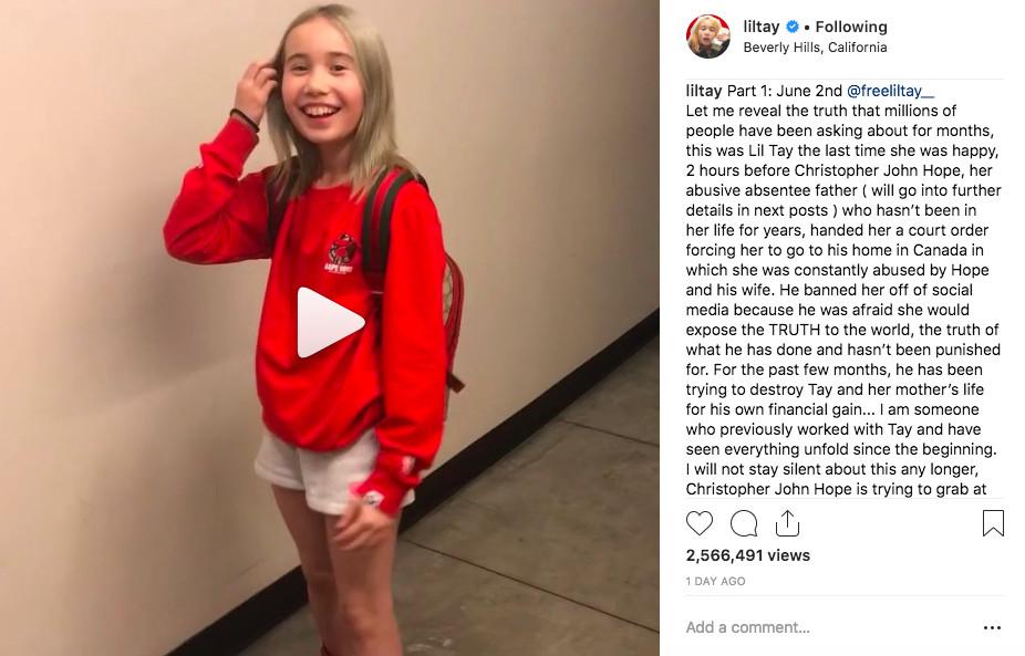 Lil Tay's Instagram account posts disturbing abuse