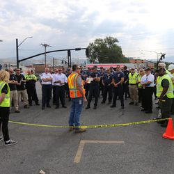 """Emergency personnel gather prior to conducting """"Hell on Wheels,"""" a full-scale, two-day, emergency protection and response drill at the Salt Lake Central Station on Tuesday, Aug. 8, 2017. The drill included emergency personnel from the Utah Transit Authority, the FBI, Salt Lake County Emergency Management, the West Valley and Salt Lake City fire departments, University of Utah Emergency Management, the University of Utah Police Department, Amtrak, Union Pacific, Murray Victim Advocates and Utah State Medical Examiner's Office. The drill simulated multiple terrorists entering the Salt Lake Valley and dividing up."""