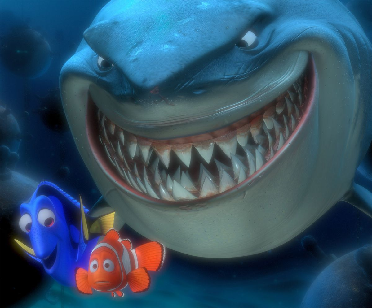 Dory, Marlin, Bruce in Finding Nemo