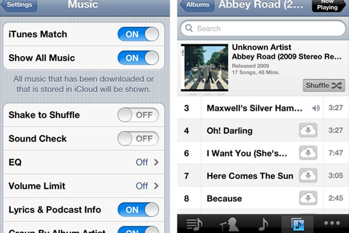 iTunes Match streaming to iOS